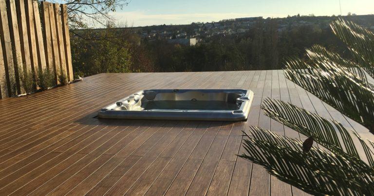 deck Sundance Spas installation in New Jersey