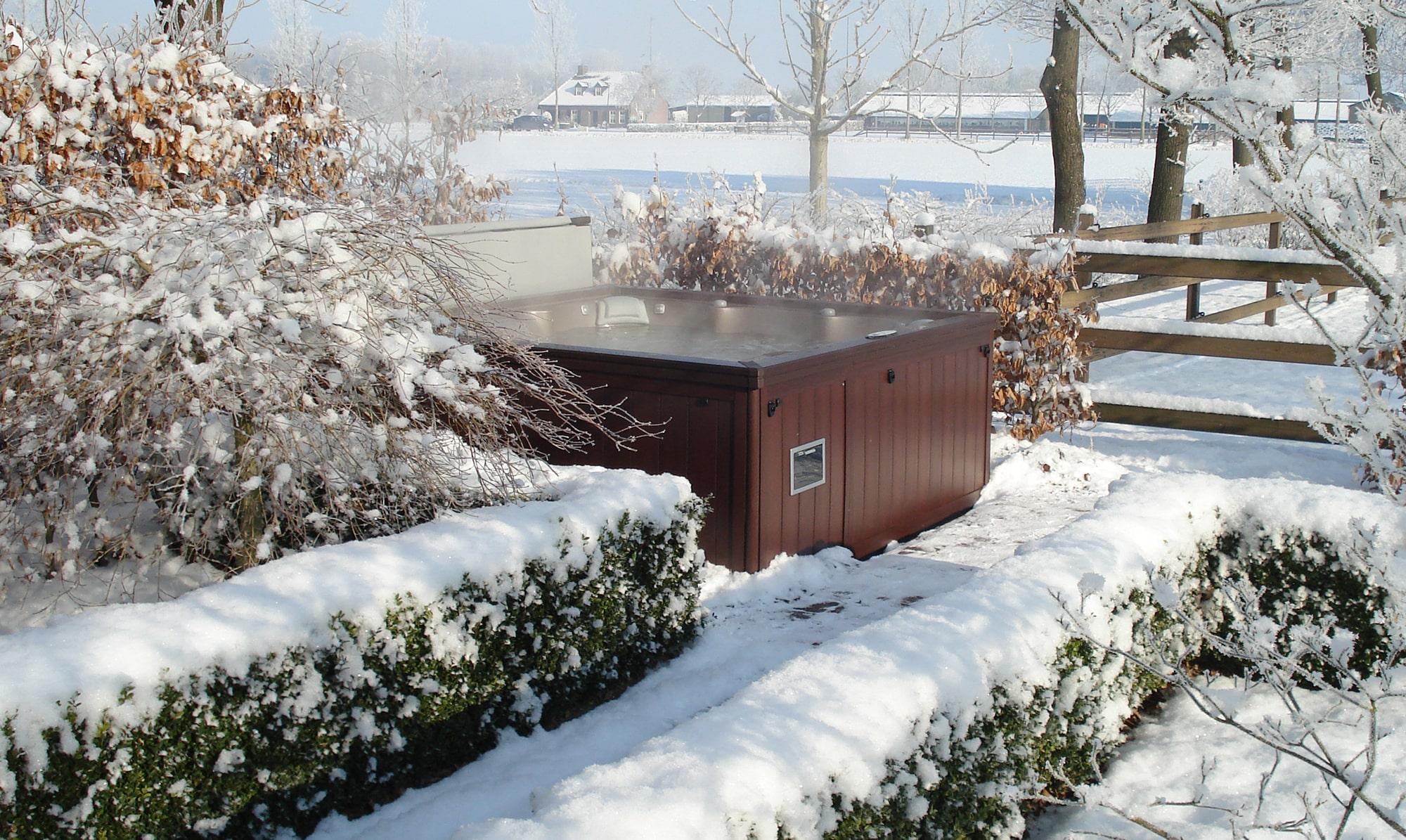 winter Sundance Spas installation in New Jersey