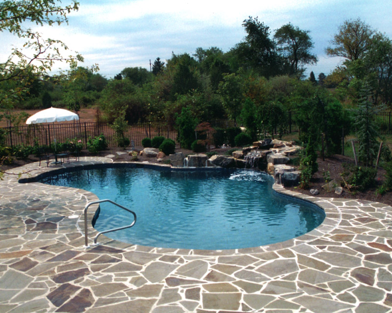 Concrete Pool and stone patio in New Jersey