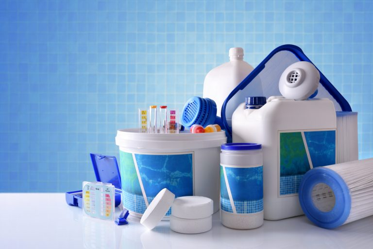Swimming pool chemicals and supplies.