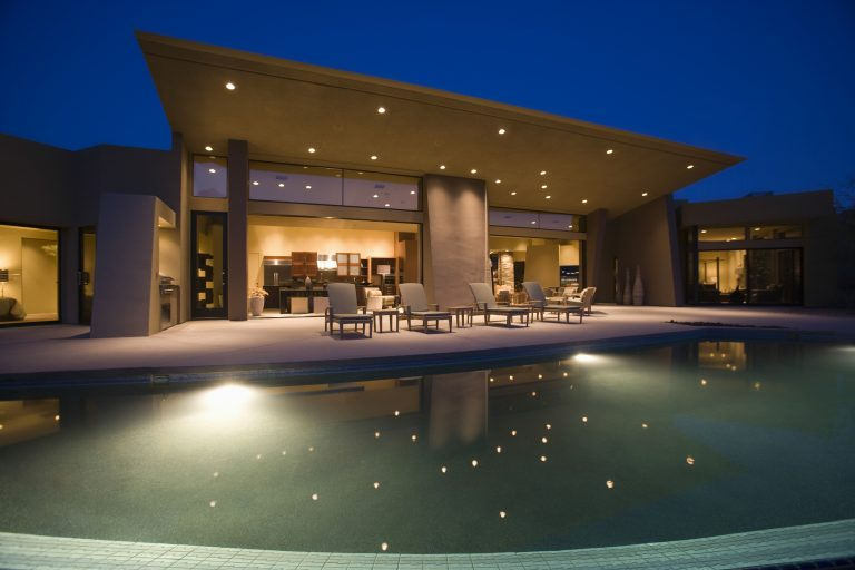 House With Swimming Pool At Night