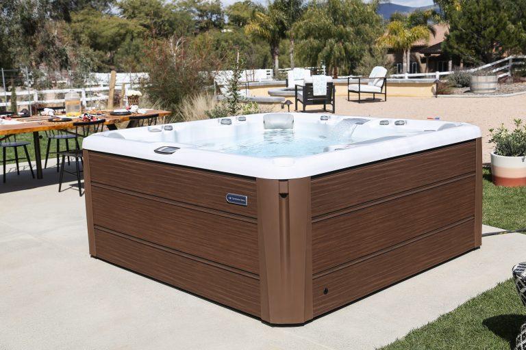 Simple outdoor hot tub installation.