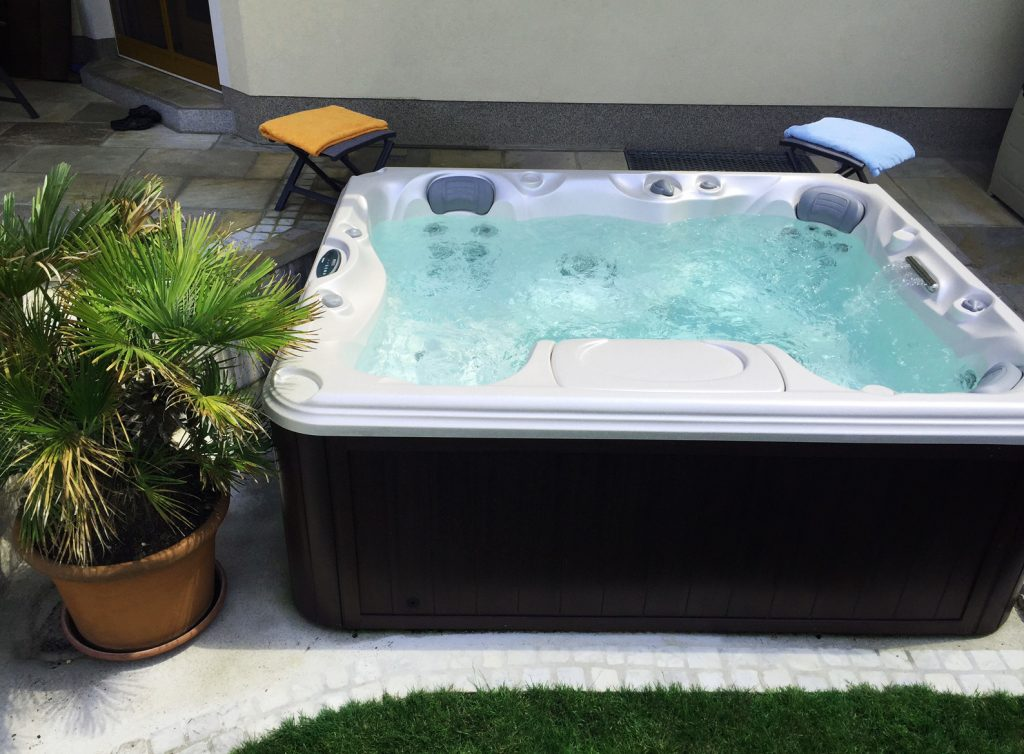 Luxurious hot tub in a New Jersey backyard.