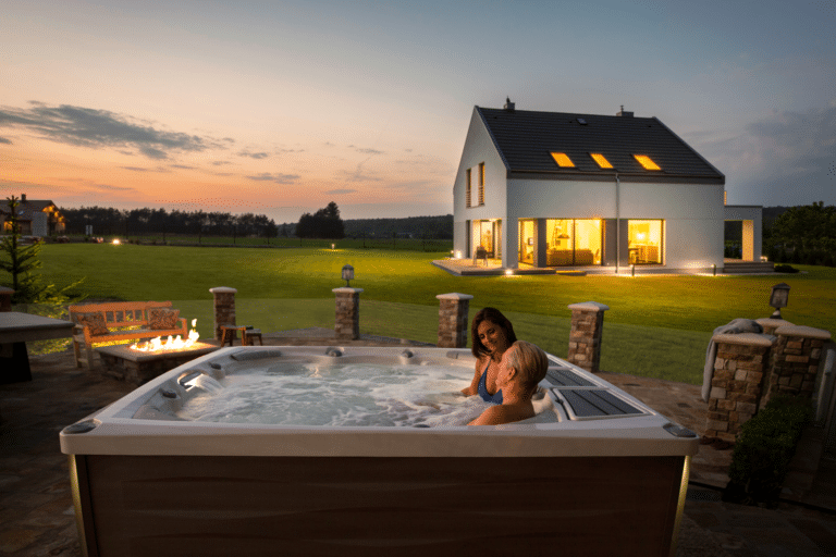 Hot tub installed outside with lots of open space.