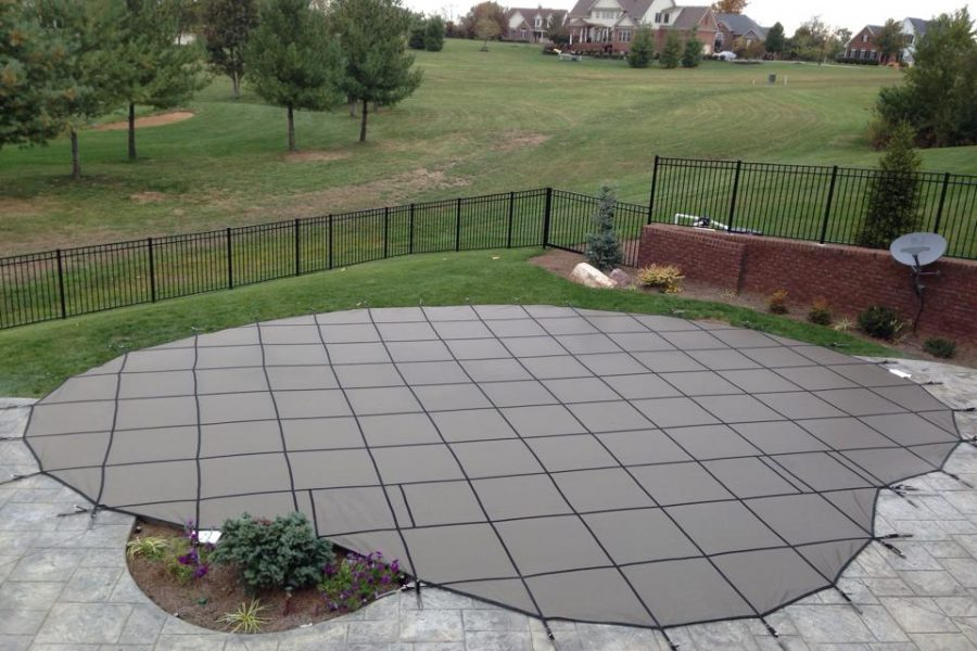 tan SmartMesh Pool Cover National Pools New Jersey